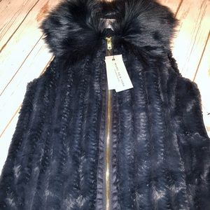 Andrew Marc Marc New York Faux Fur navy vest S NWT